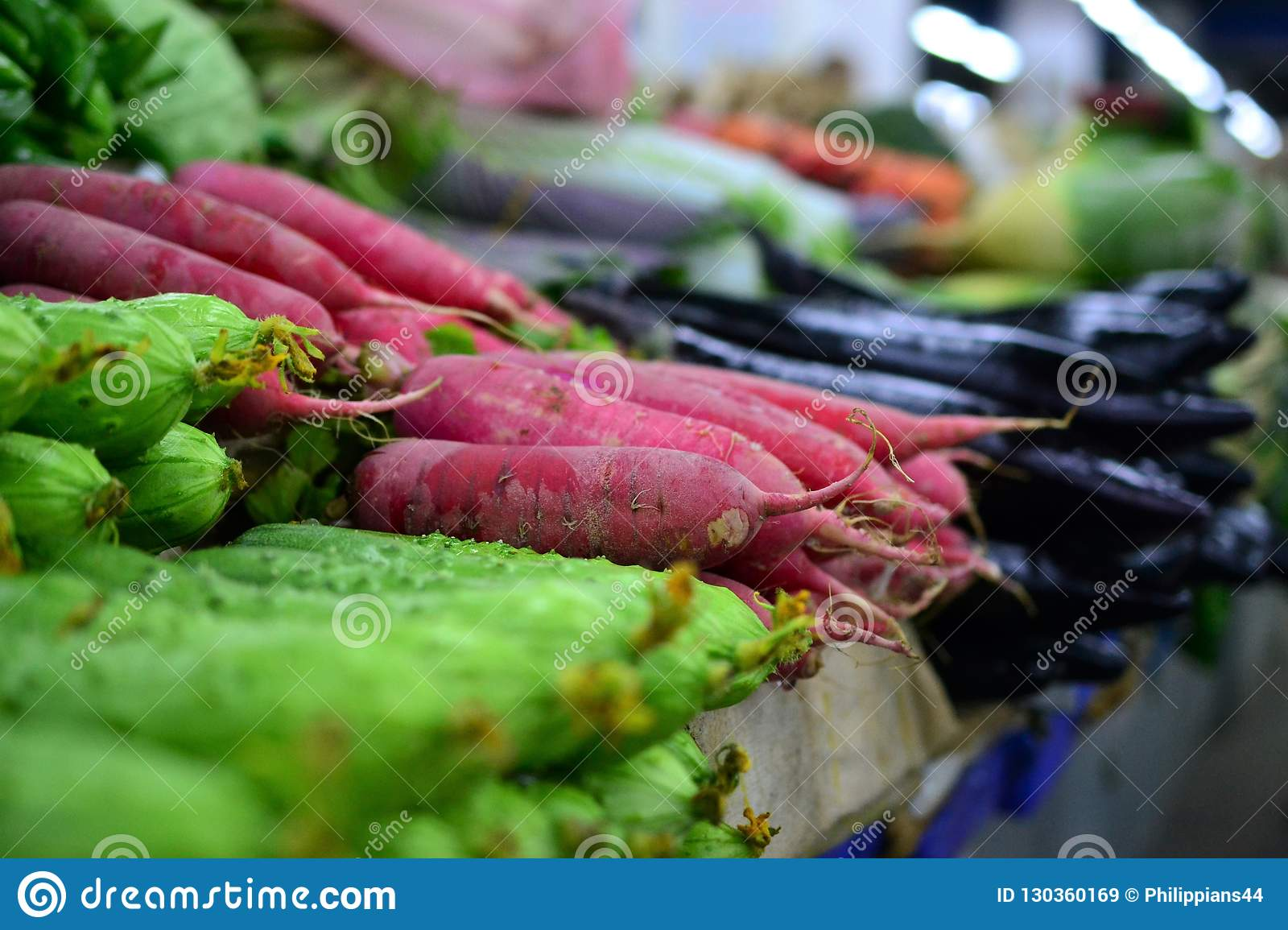 Radish and cucumber, Fresh vegetable on street market in China