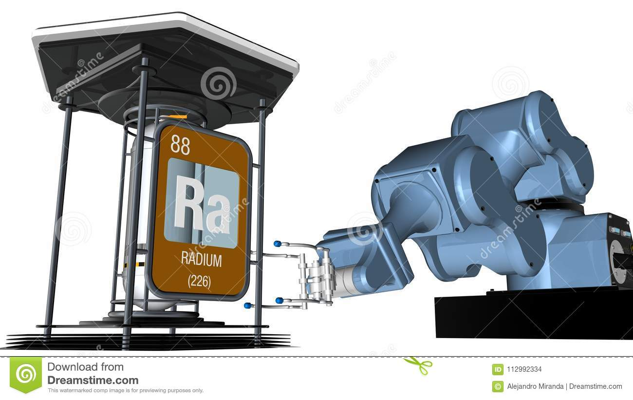 Radium symbol in square shape with metallic edge in front of a mechanical arm that will hold a chemical container. 3D render.