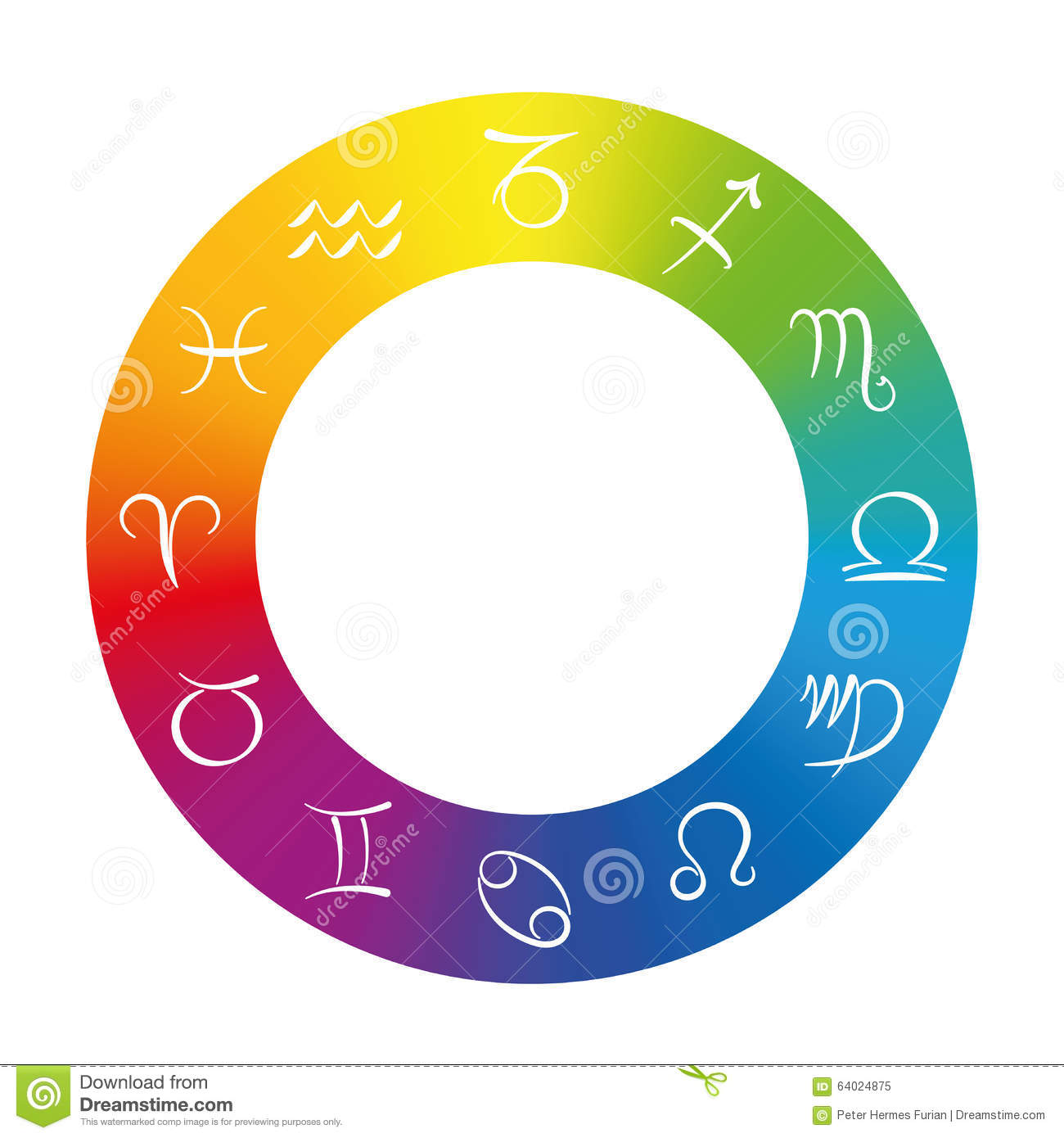 Color chart rainbow - Radix Astrology Symbols In Rainbow Colored Ring Royalty Free Stock Photo