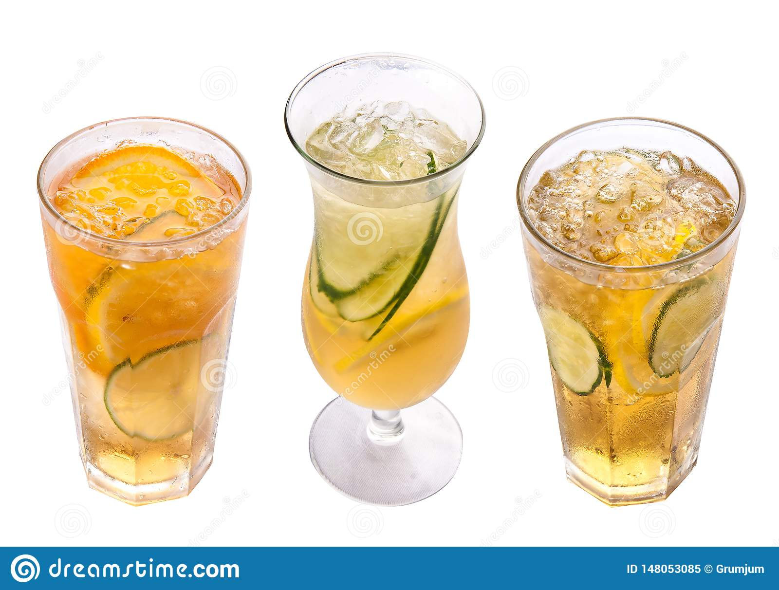 Radler. Beer cocktail with juice. Glasses on a white background