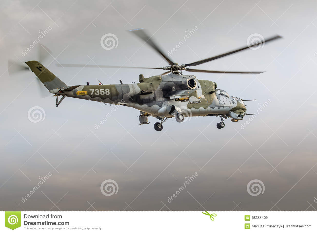 RADOM, POLAND - AUGUST 22: MI-24 Hind display during Air Show 20
