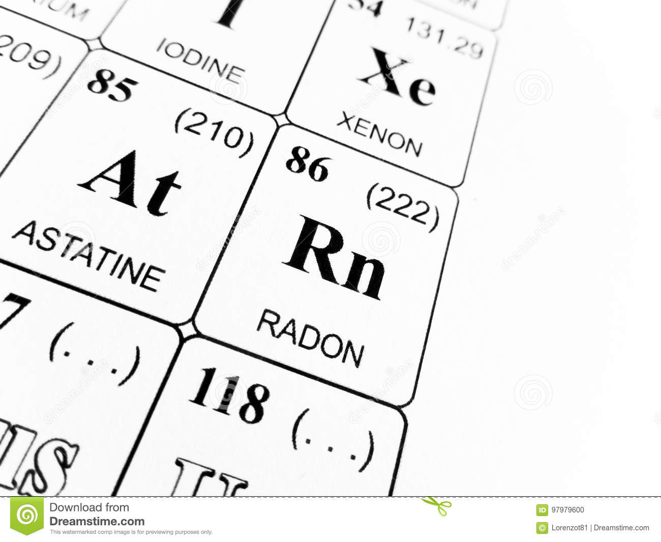 Radon On The Periodic Table Of The Elements Stock Photo Image Of