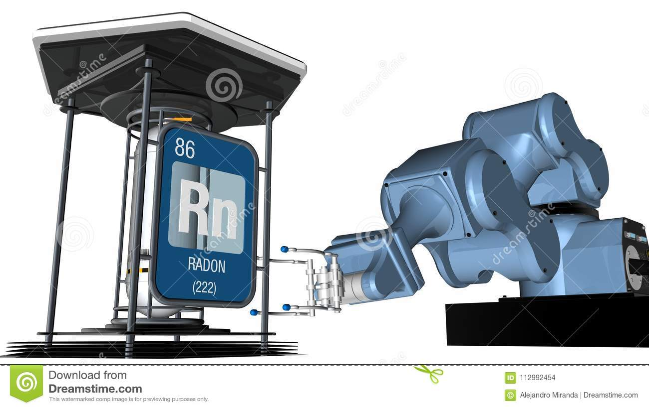 Radon symbol in square shape with metallic edge in front of a mechanical arm that will hold a chemical container. 3D render.