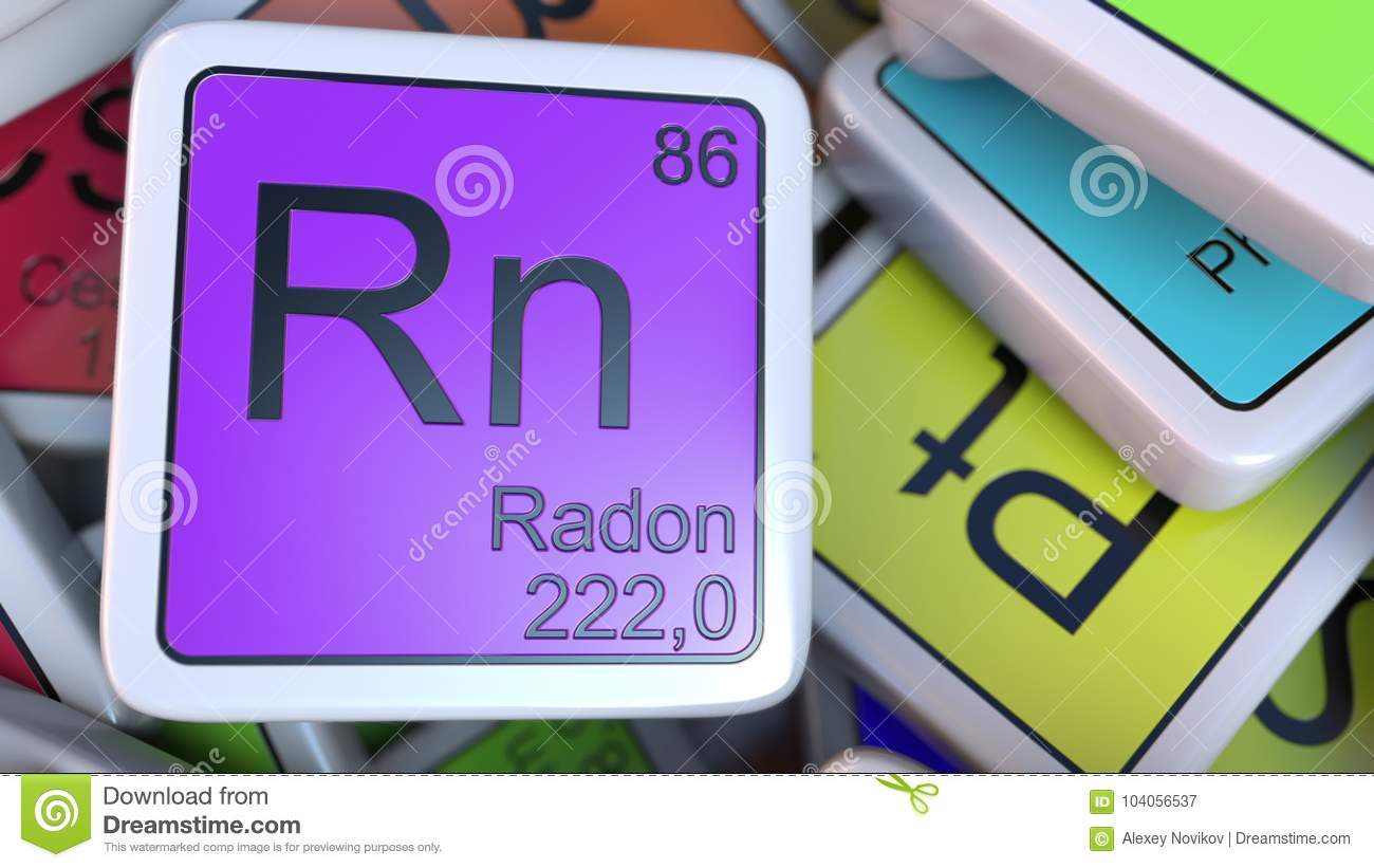 Radon Rn Block On The Pile Of Periodic Table Of The Chemical