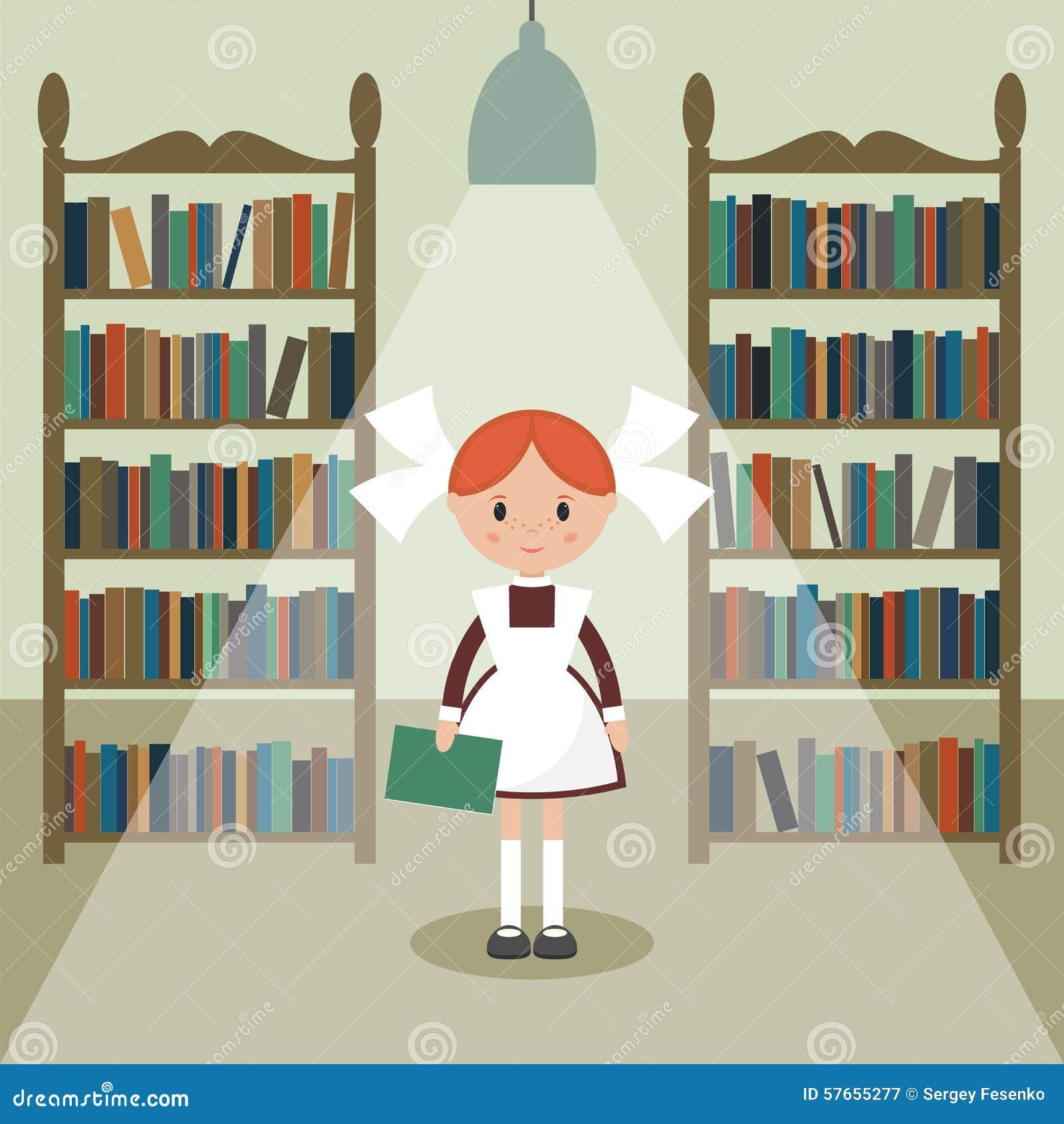 Radziecka kreskówki uczennica w bibliotece