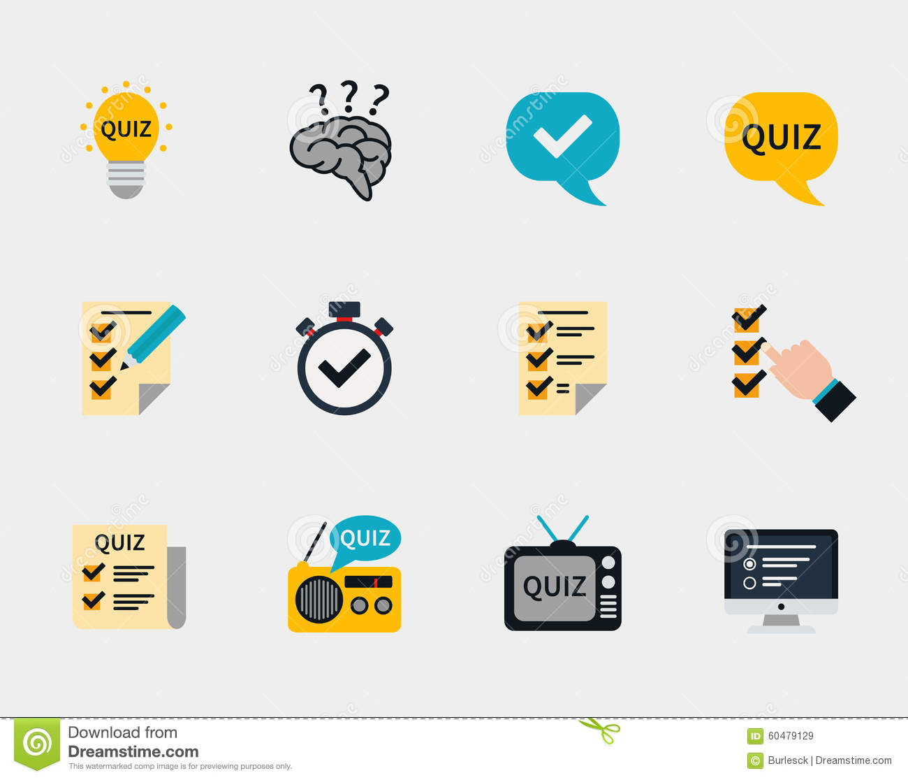Raffle Prizes And Quiz Flat Icons Stock Vector Image