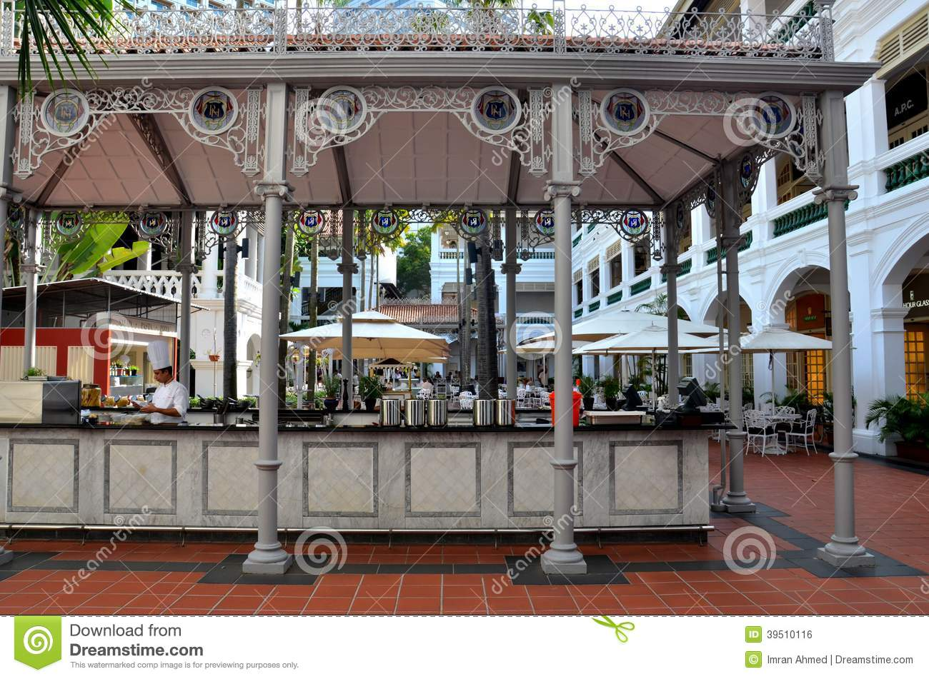 Raffles Hotel Courtyard bar and restaurant Singapore