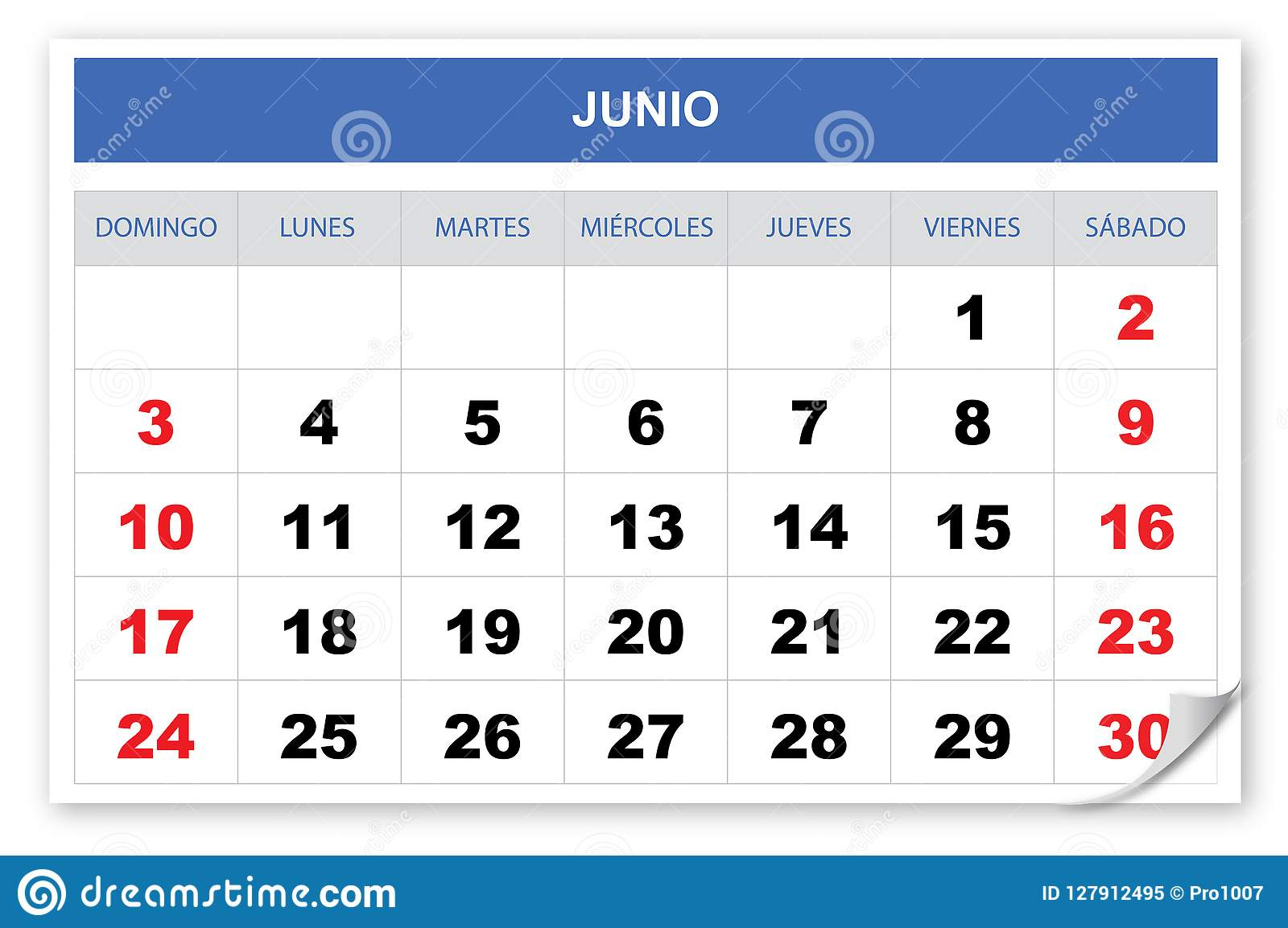 Raffreddi ed immagini lo Spagnolo del calendario 2018, giugno