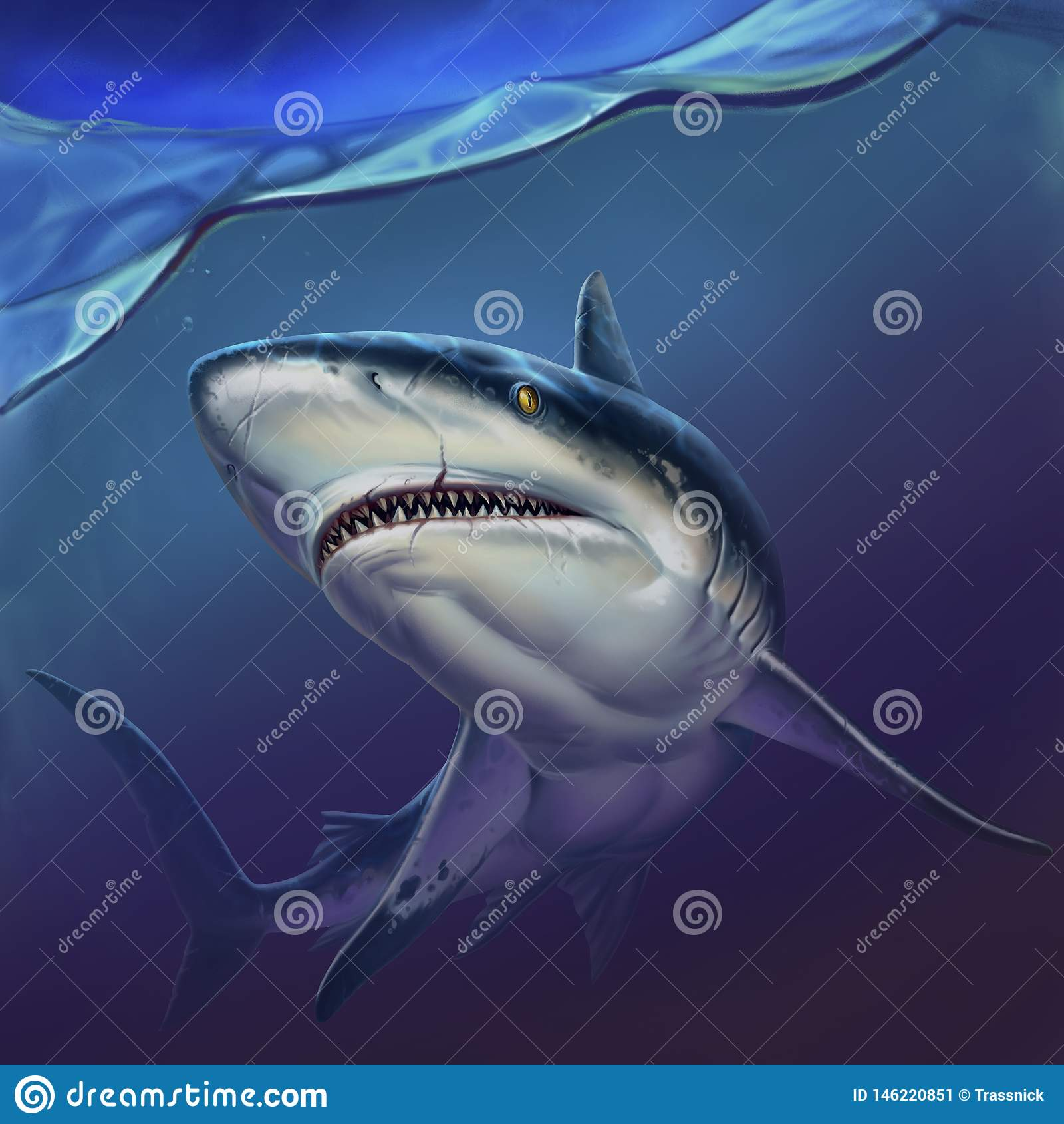 Rafowy rekin na głębii tła realistycznej ilustracji