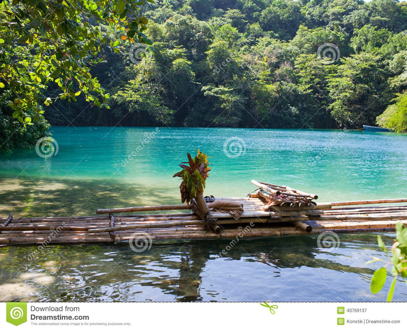 Raft On The Bank Of The Blue Lagoon Jamaica Stock Image