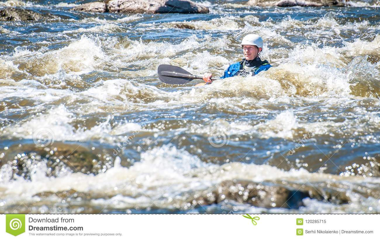 Rafting, Kayaking. An Unidentified Man Are Sailing On His Short Dagger  Whitewater Kayak. Ecological Water Tourism. Editorial Image - Image of  kids, events: 120285715