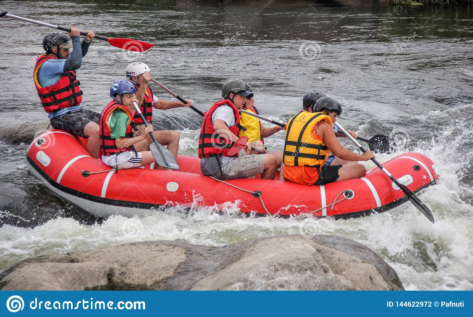 Rafting team , summer extreme water sport.