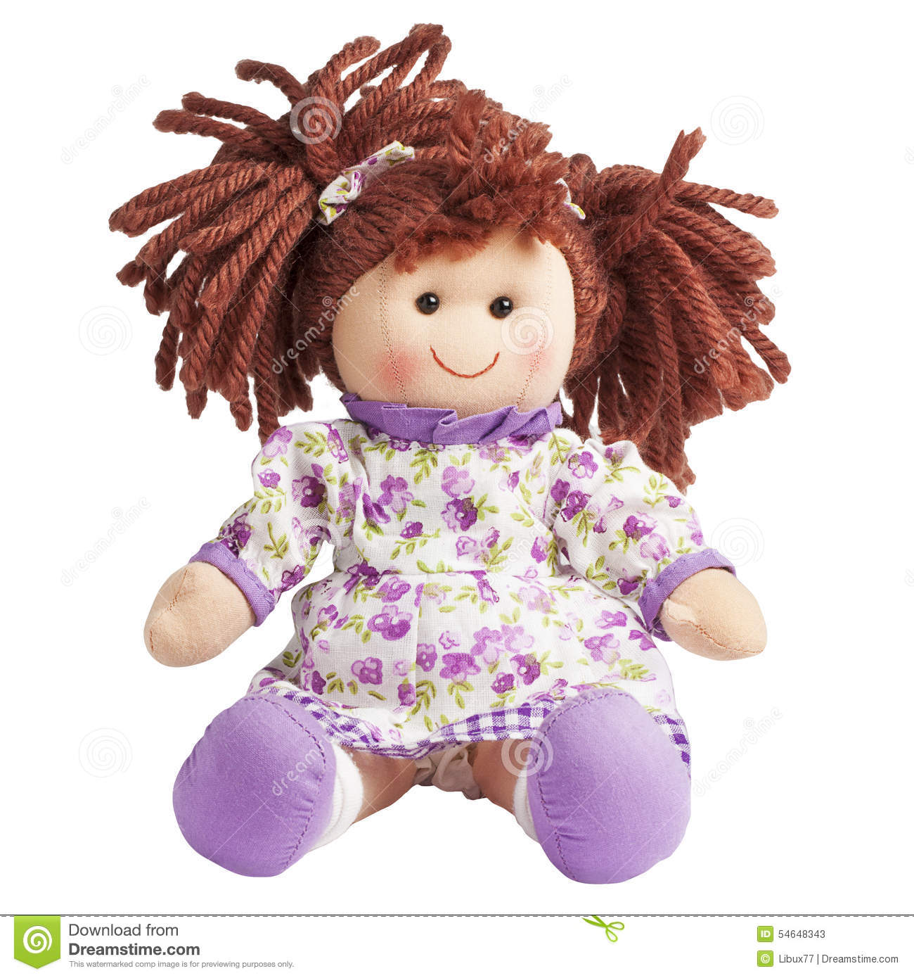 Rag Doll Fabric Sit Isolated