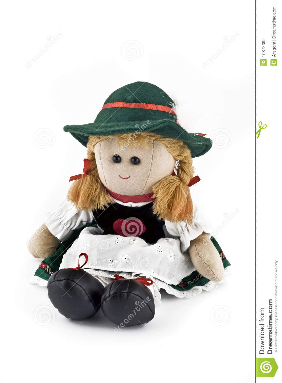 Rag Doll In National Austrian Costume Isolated Stock