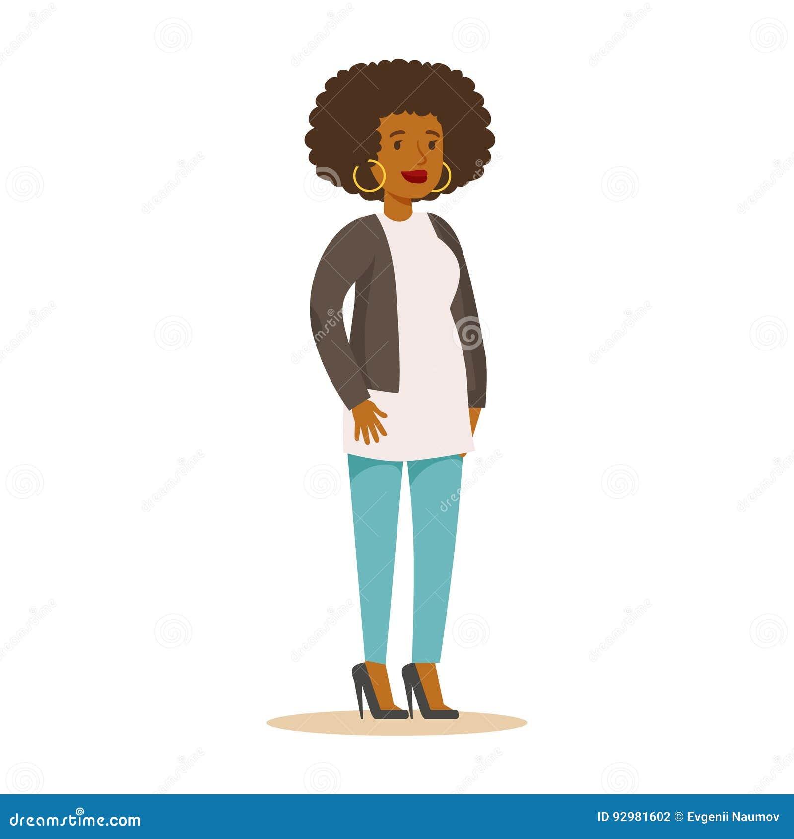 Ragazza afroamericana casuale con capelli ricci ed i grandi