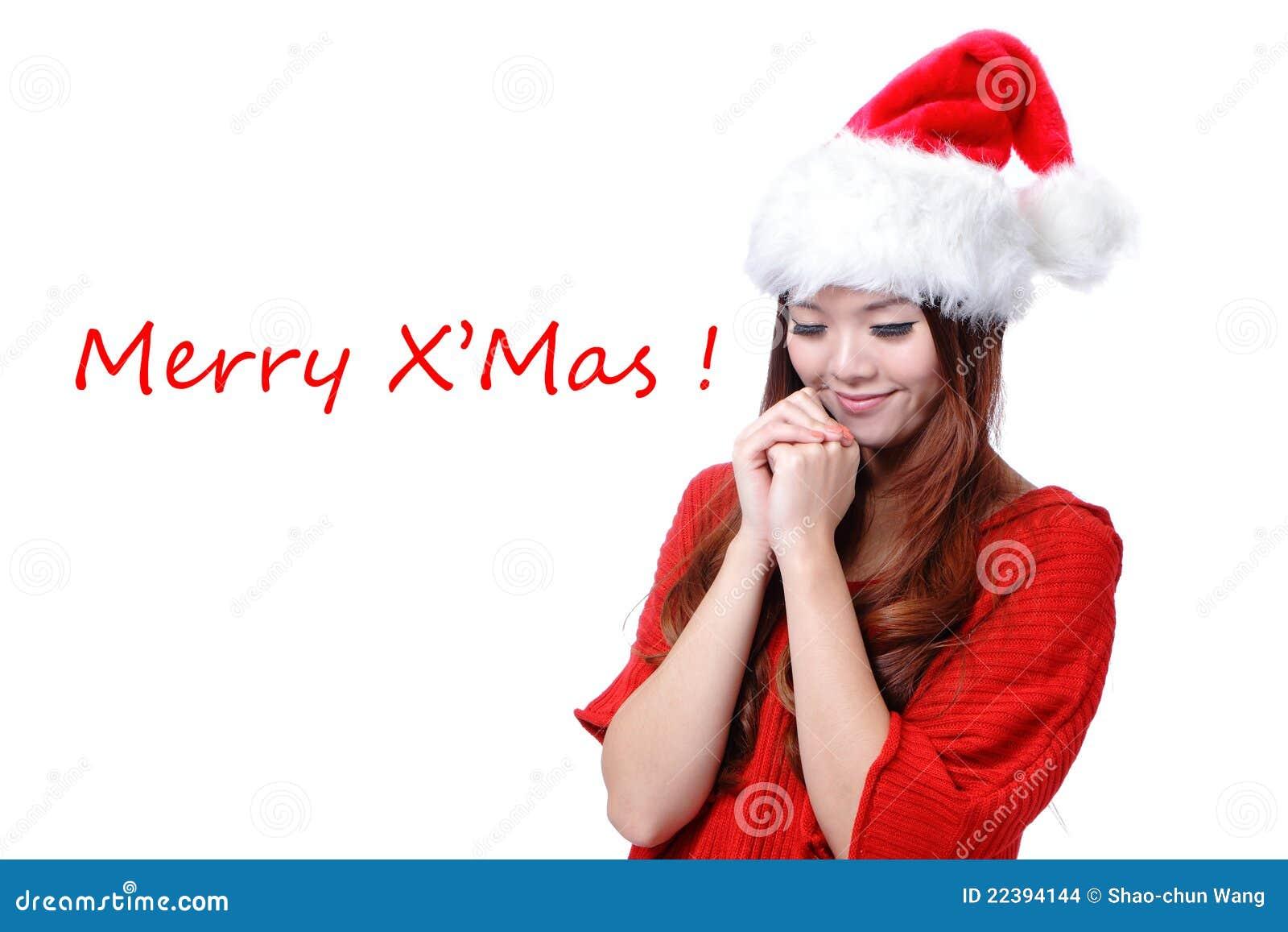 f518d70958fe Ragazza Asiatica Felice Di Bellezza Con Buon Natale Fotografia Stock ...