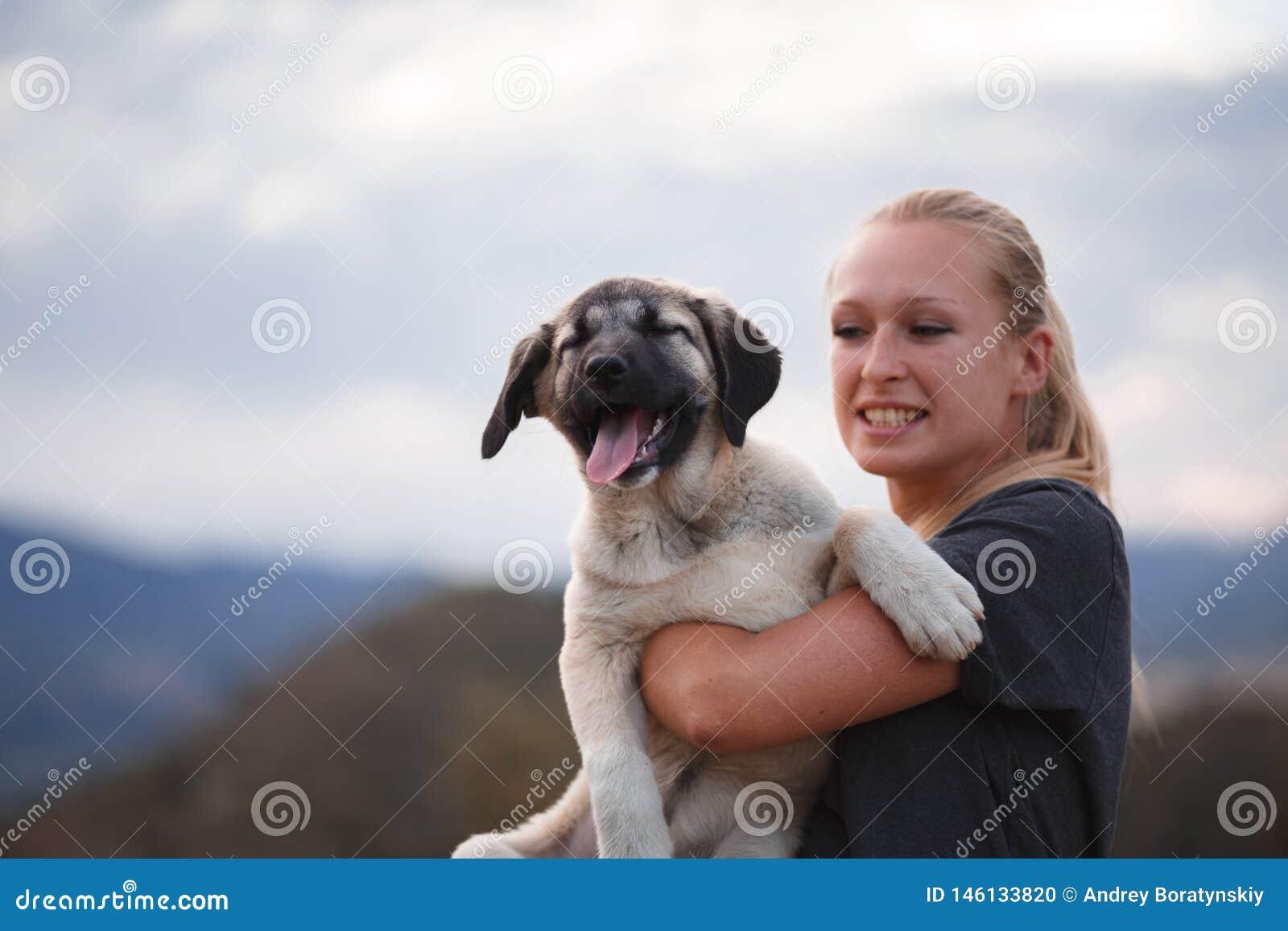 Ragazza bionda che gioca con il mastino spagnolo del cucciolo in un campo dei fiori gialli