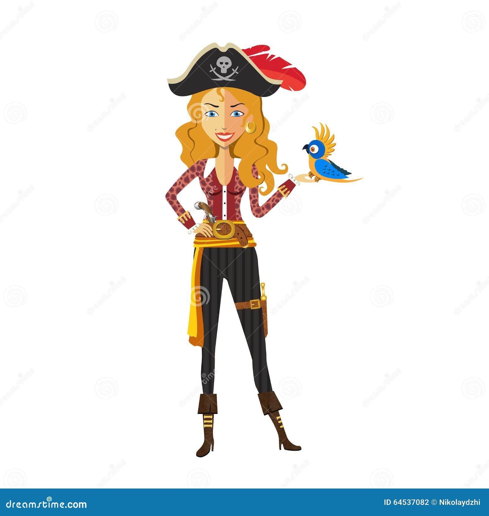 Ragazza bionda coraggiosa del pirata su fondo bianco