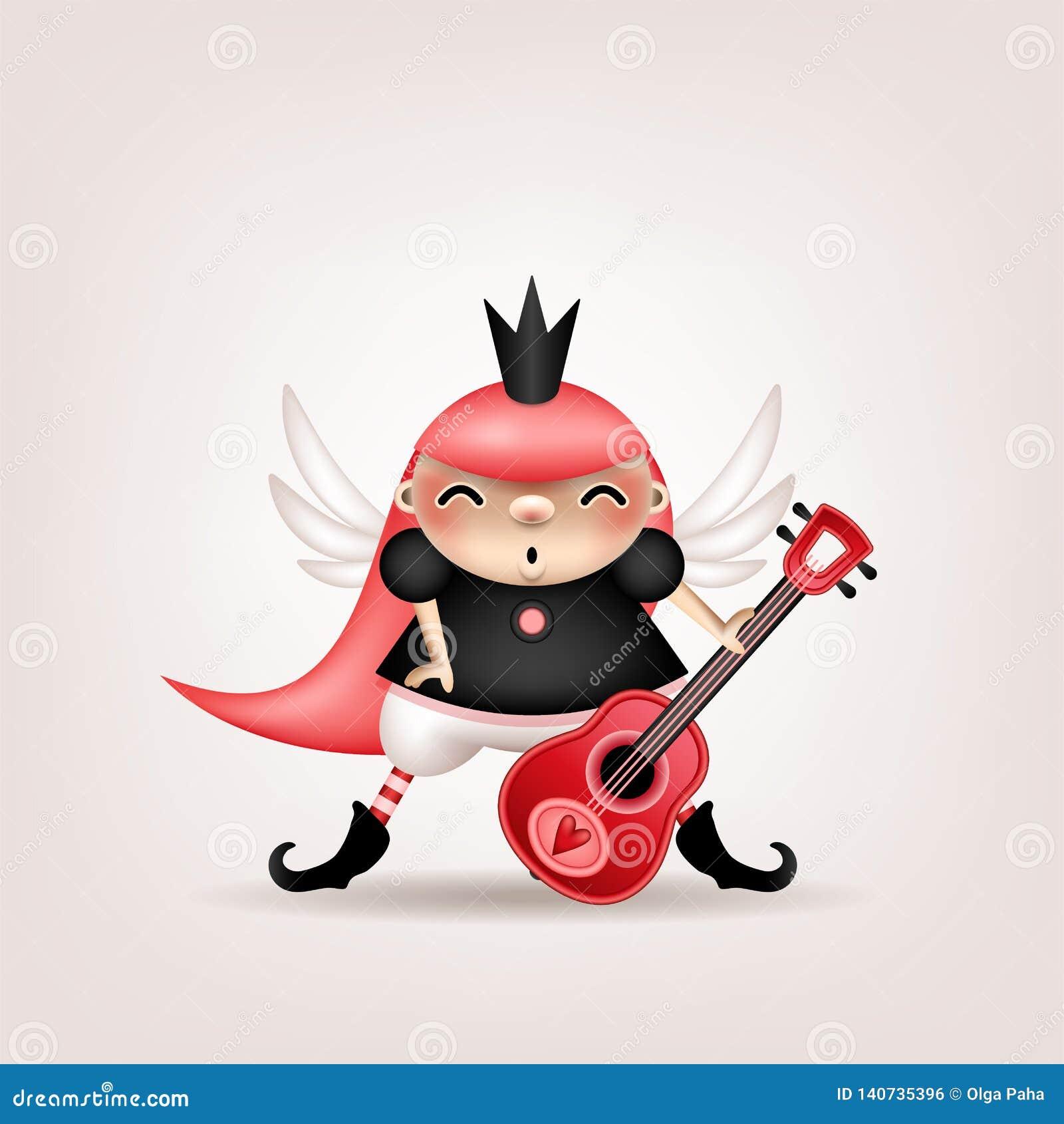 Ragazza castana con la chitarra