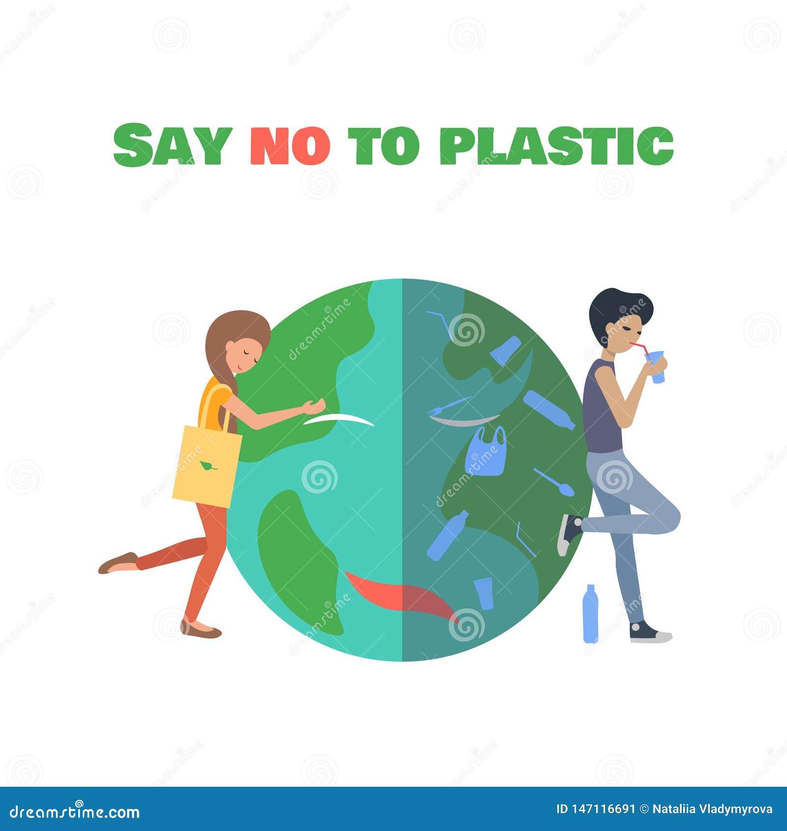 Ragazza che abbraccia il pianeta Dica NO ai sacchetti di plastica