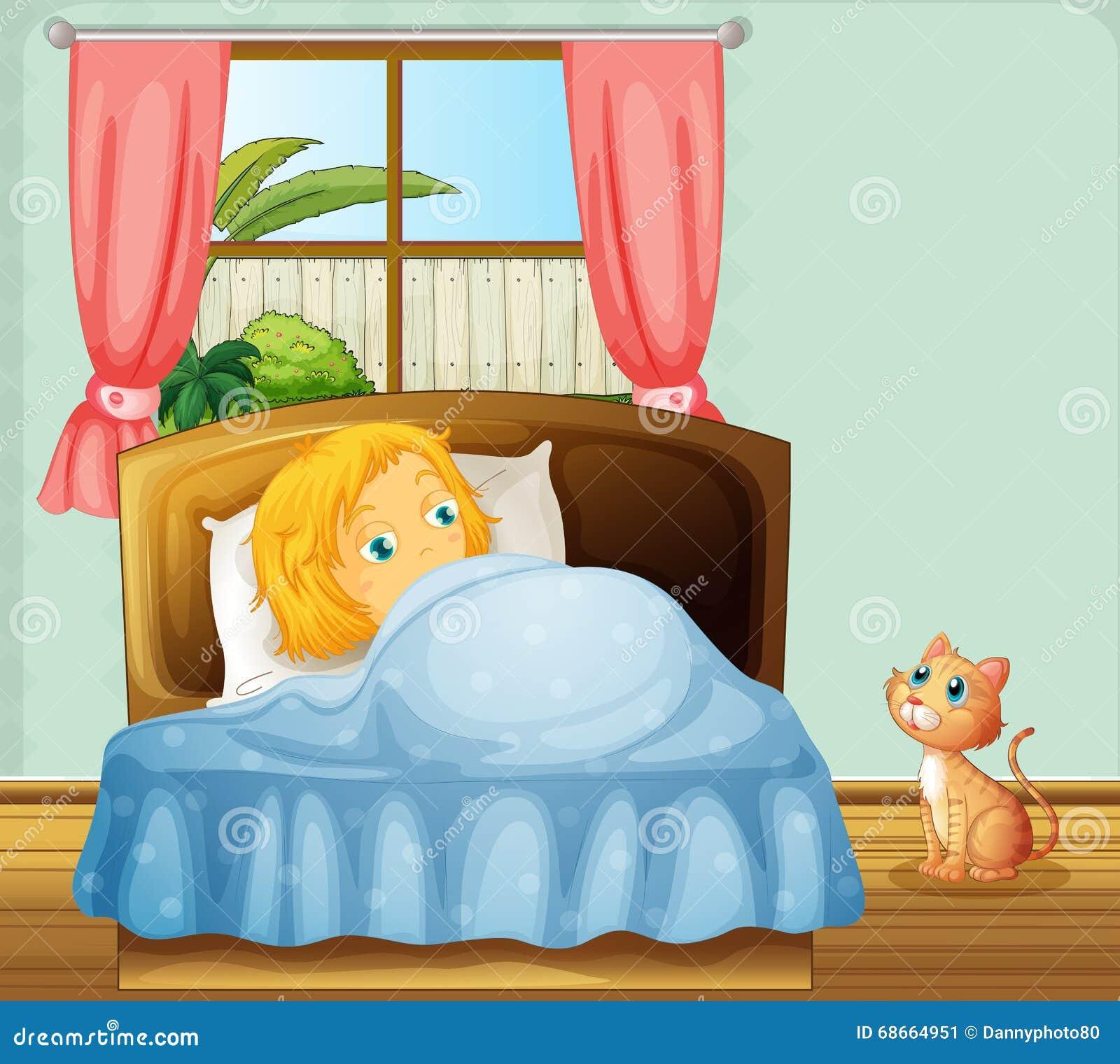 Ragazza che dorme nella camera da letto illustrazione - Camera da letto ragazza ...