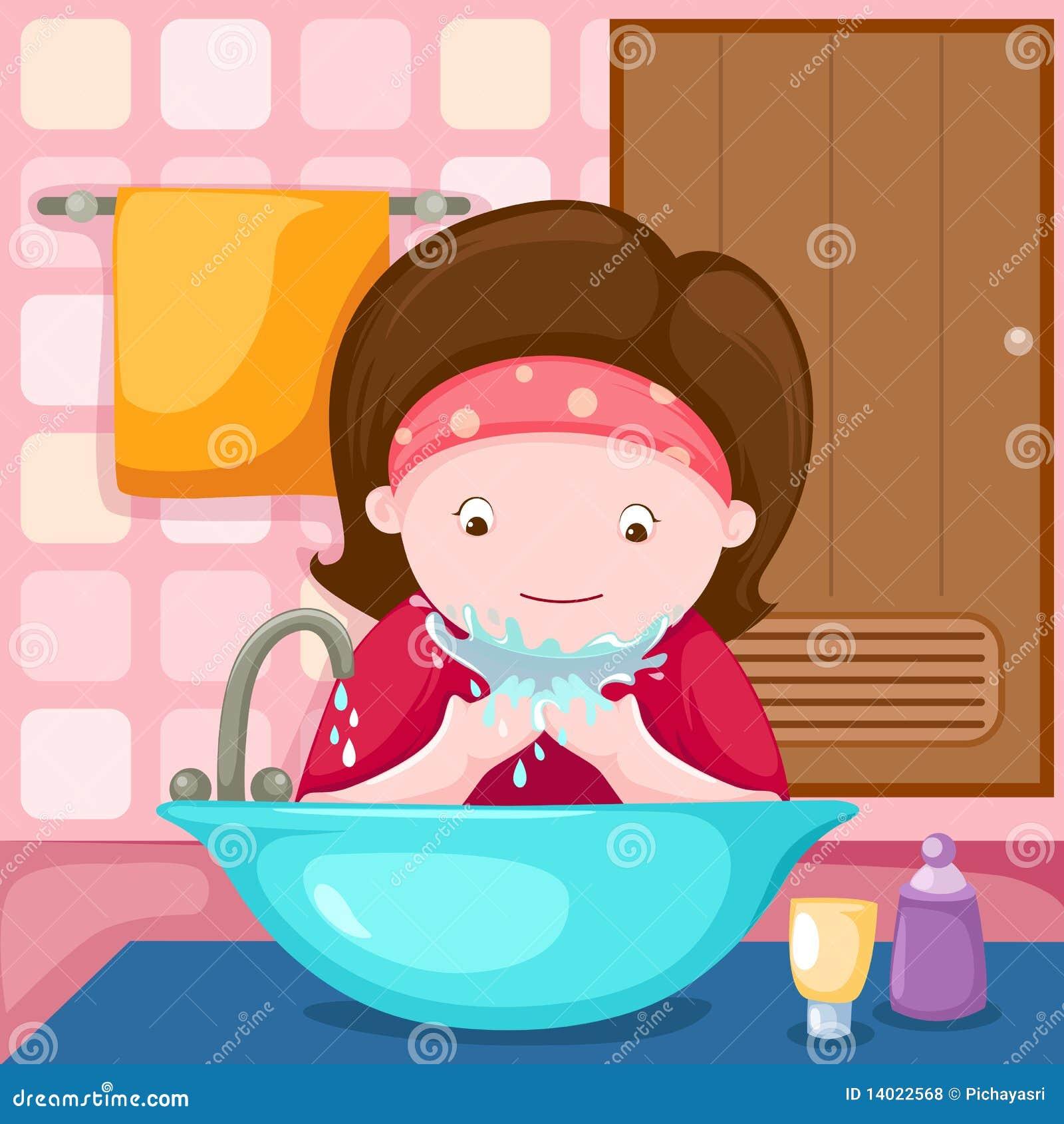 Ragazza che lava il suo fronte in stanza da bagno for Suo e suo bagno