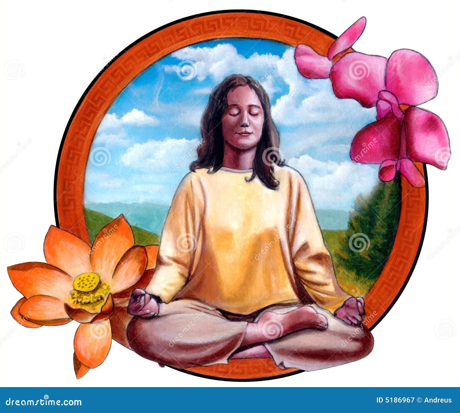 Ragazza che meditating