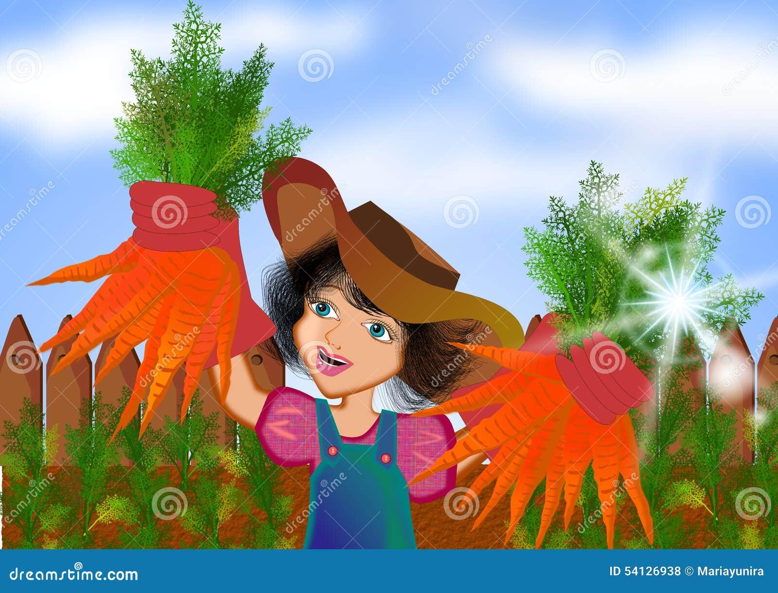 Ragazza che raccoglie le carote