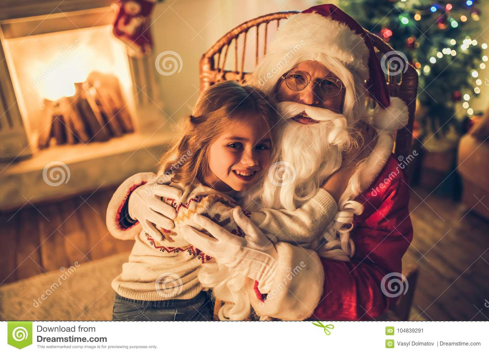 Ragazza con Santa Claus