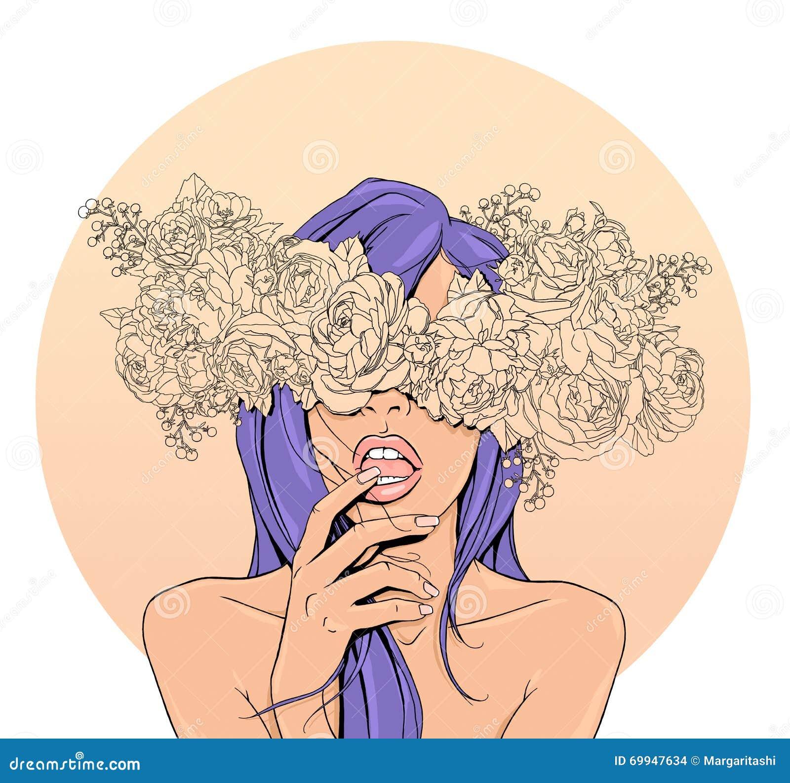 Ragazza con una corona dei fiori sulla testa umore della - Immagine di una ragazza a colori ...