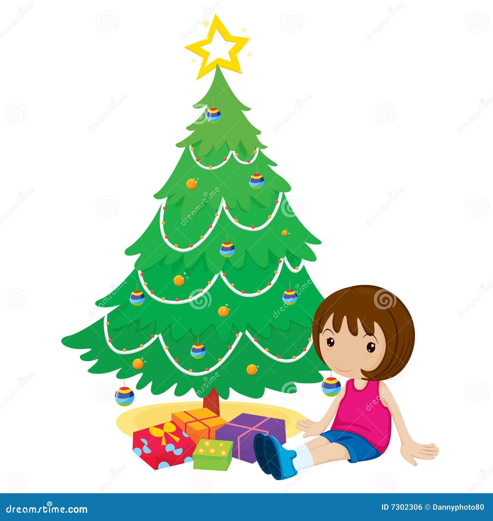 Ragazza da un albero di Natale