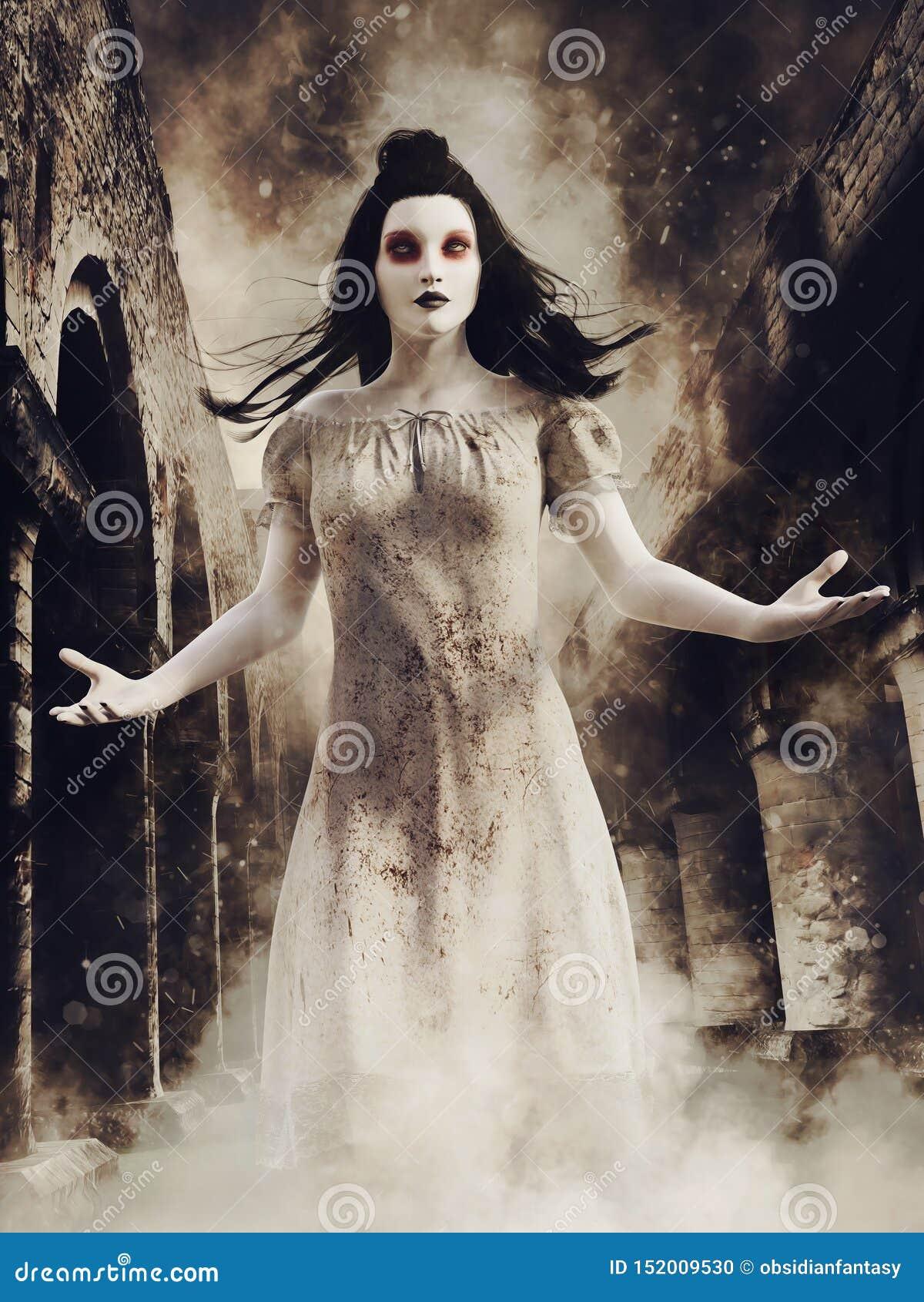 Ragazza del fantasma in un abbazia rovinata