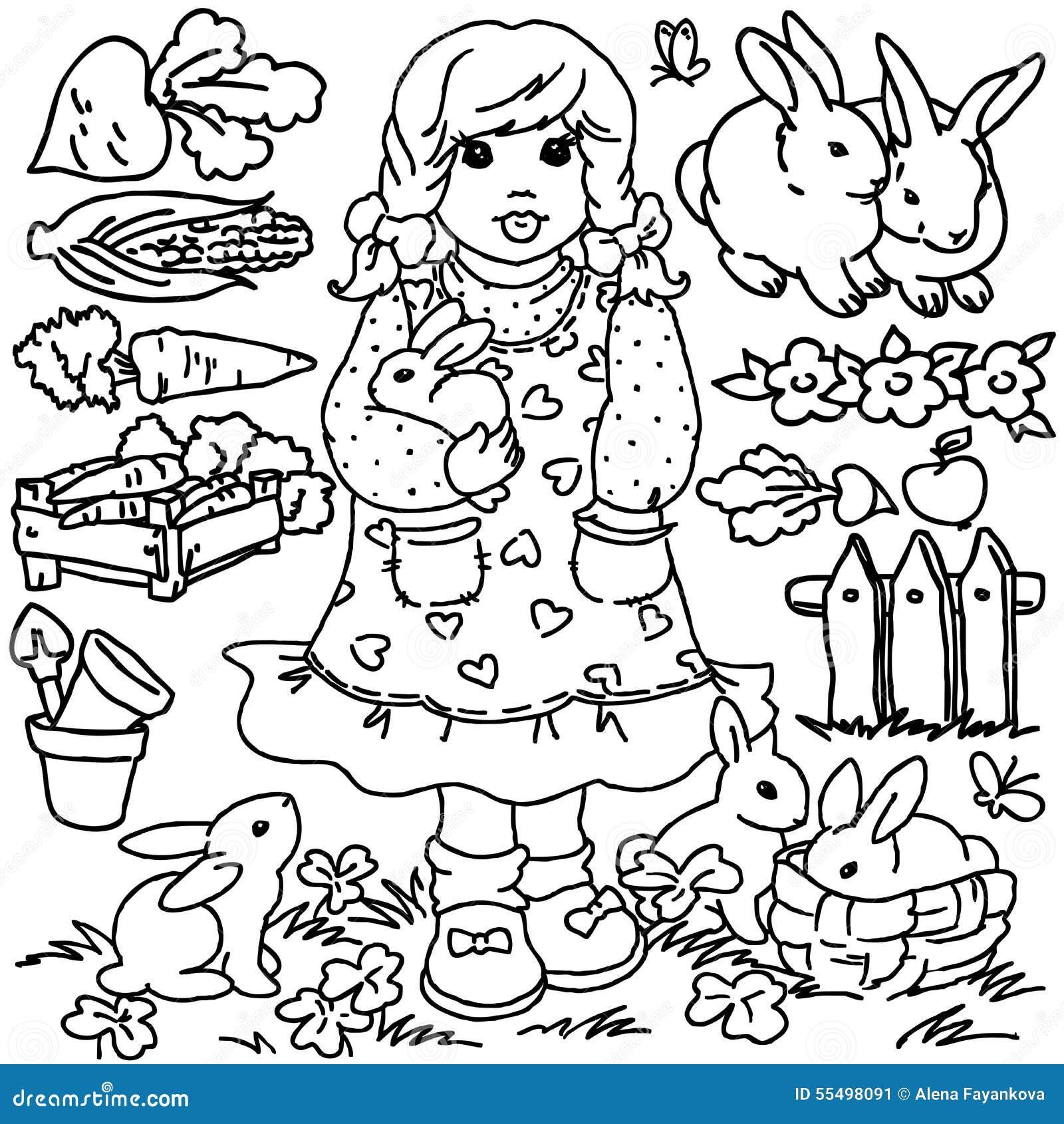 farmer in the dell coloring pages | Ragazza Dell'azienda Agricola Del Fumetto, Del Libro Da ...