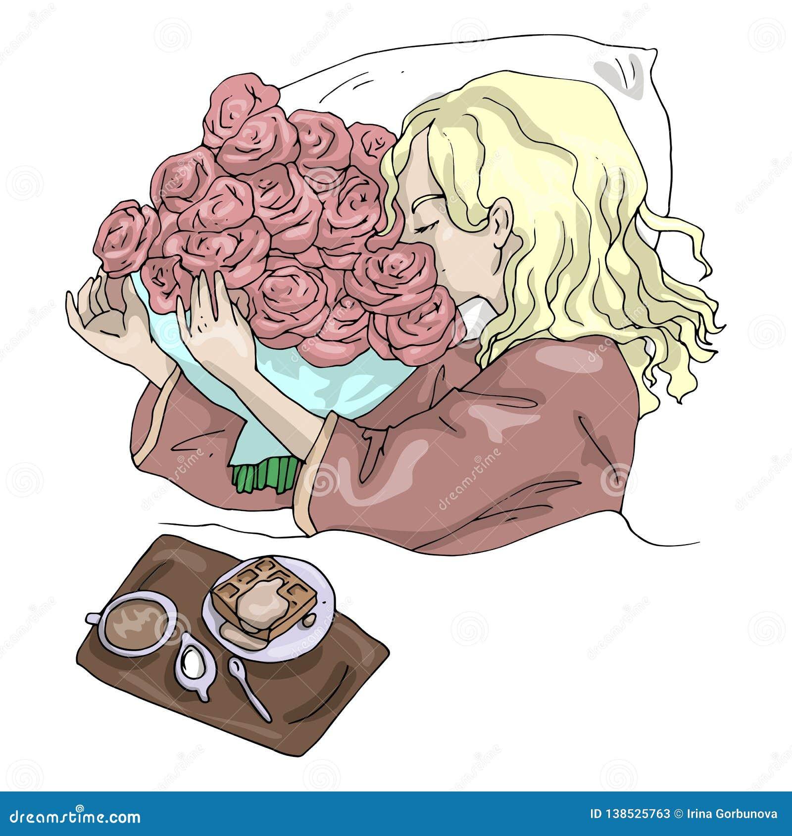 Ragazza dell illustrazione di vettore con la prima colazione di mattina dei fiori a letto