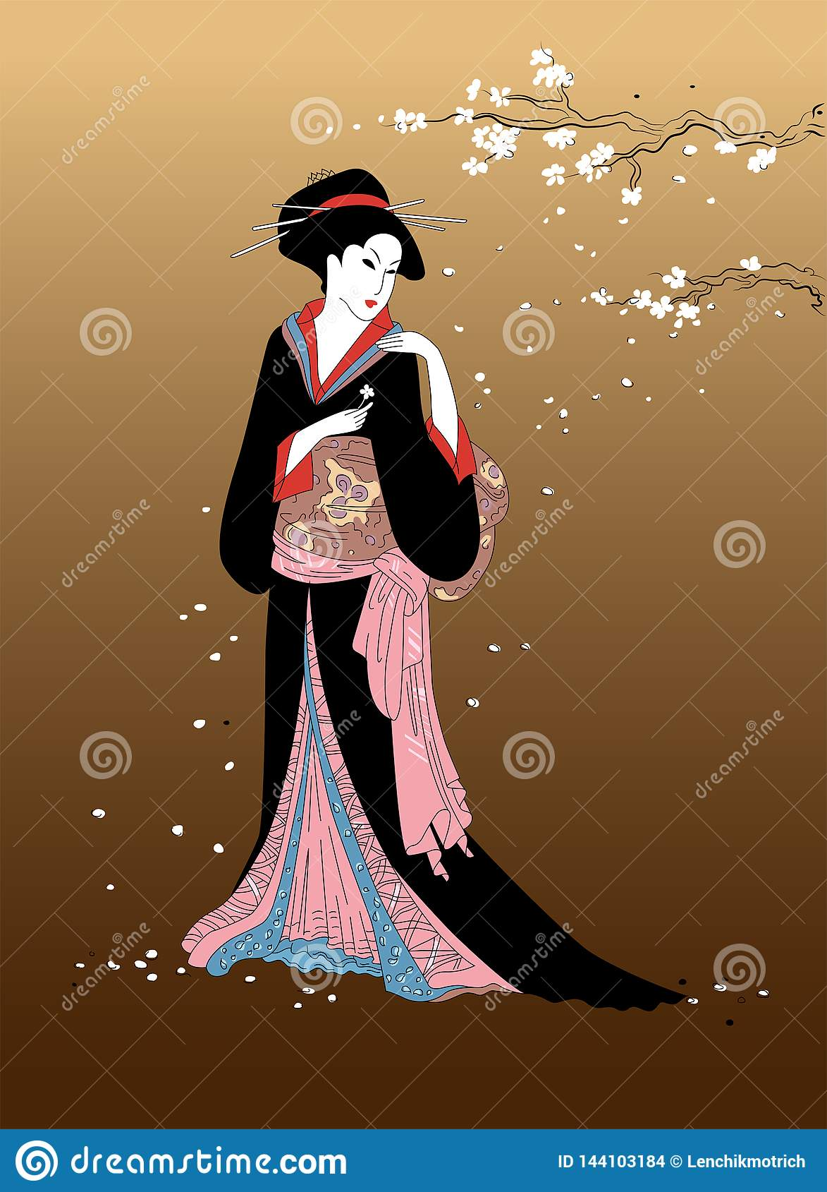 Ragazza di geisha con il ramo del fiore di sakura su fondo Belle donne giapponesi in vestito nazionale Elemento del DES tradizion