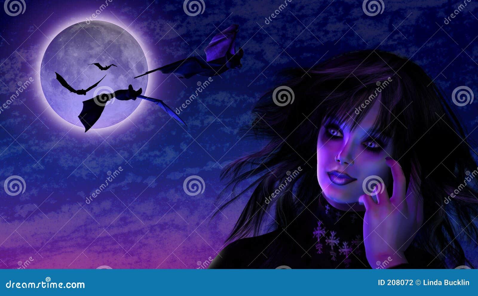 Ragazza di Goth nella luce della luna con i blocchi