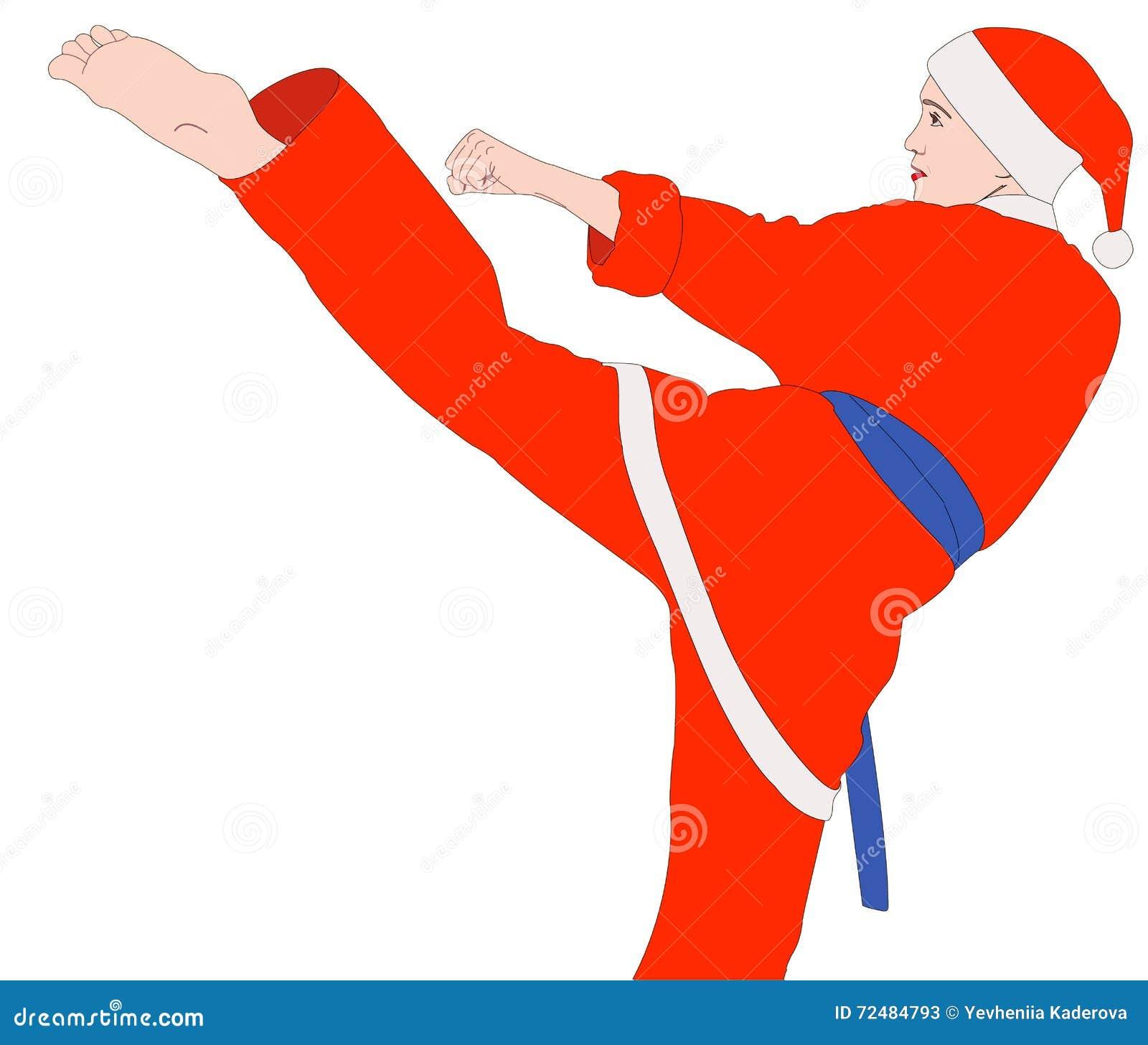 Ragazza di karatè nel vestito di Santa