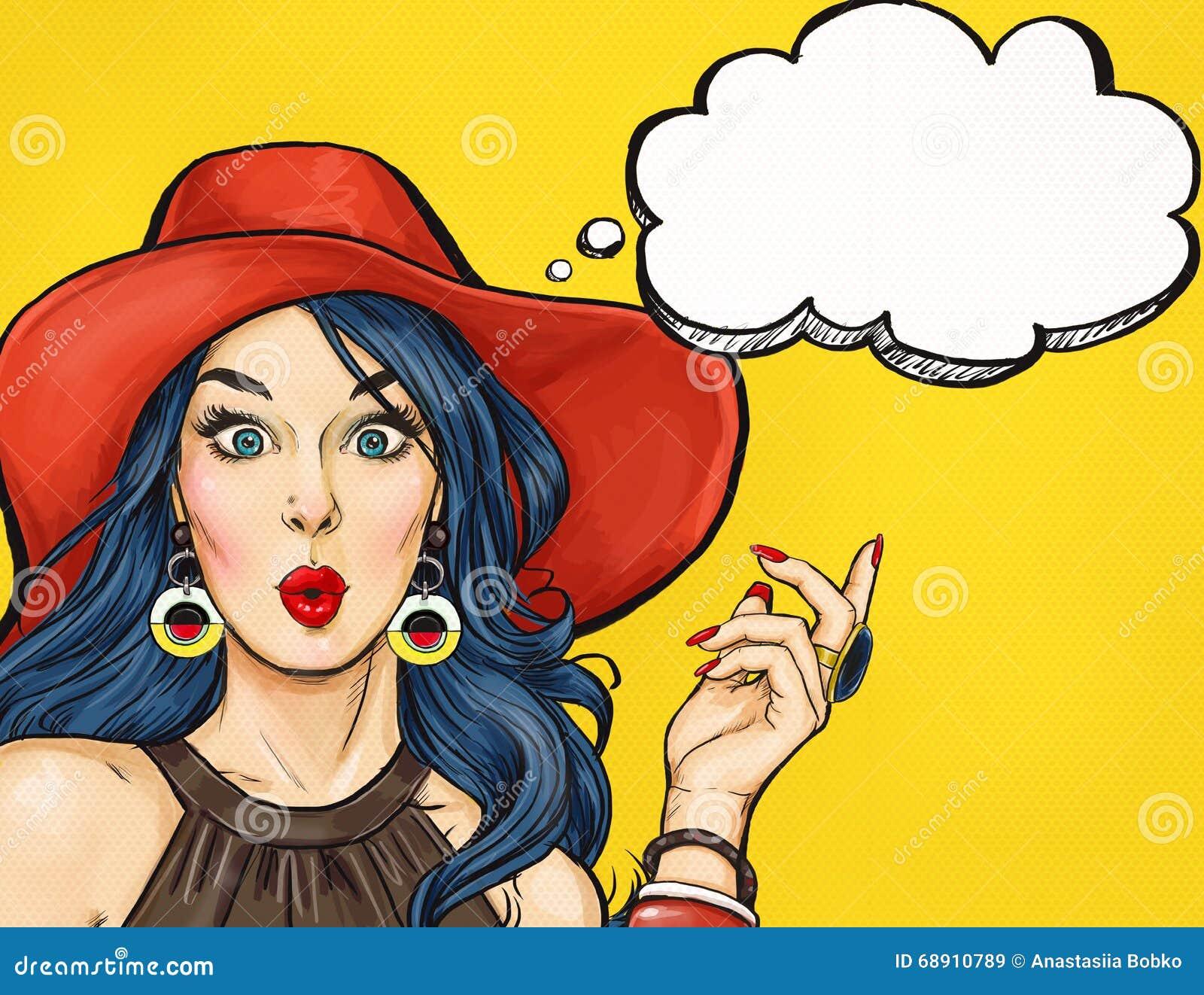 Ragazza di Pop art con la bolla di pensiero Invito del partito Scheda di compleanno Hollywood, stella del cinema Donna comica