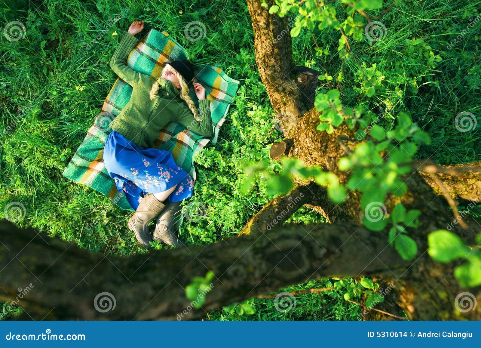Download Ragazza in foresta fotografia stock. Immagine di fogliame - 5310614