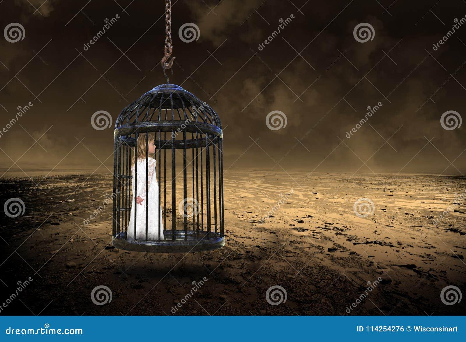 Ragazza, gabbia, amore, speranza, pace