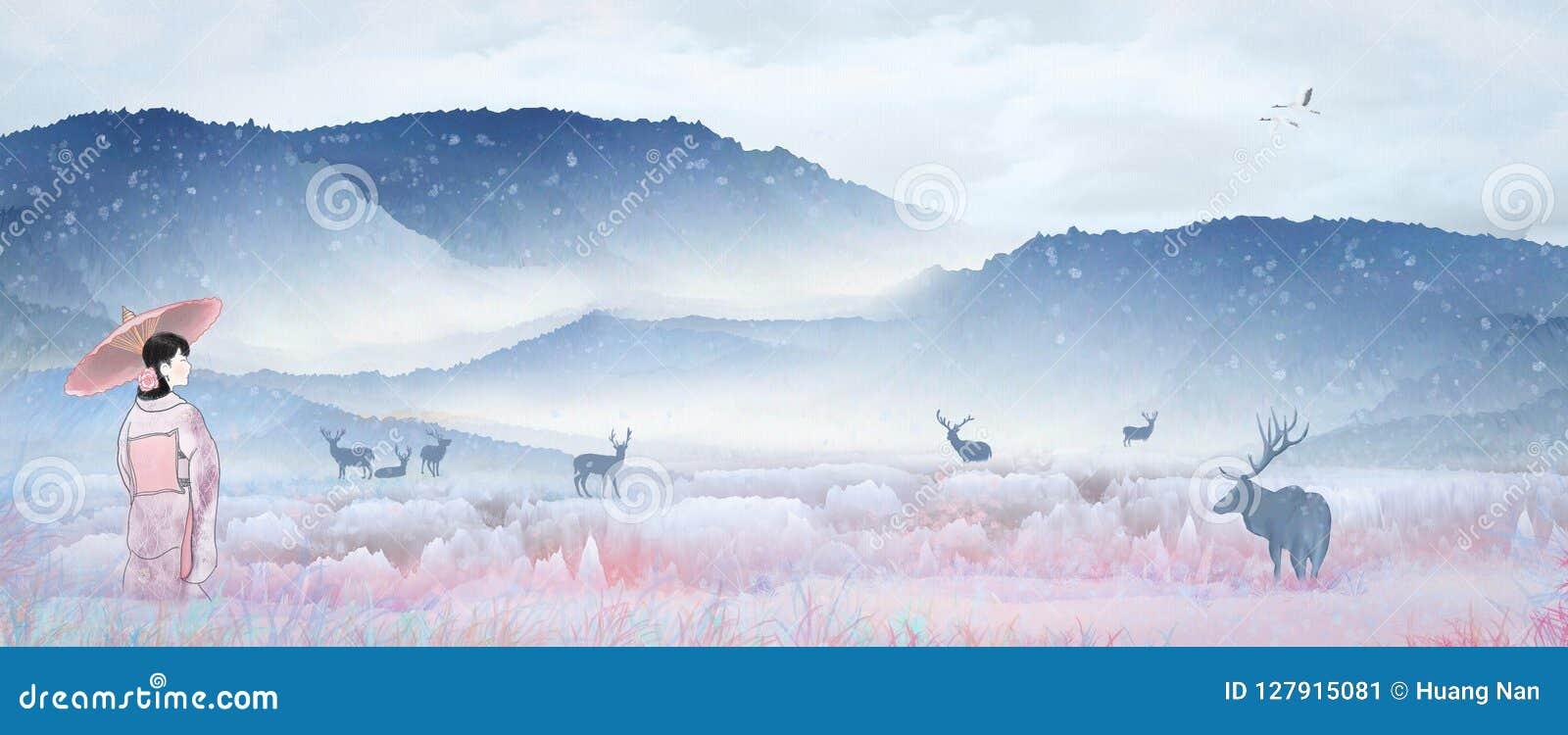 Ragazza giapponese che gioca nel paesaggio di paese delle fate, cervo Sika del kimono dell illustrazione della neve che riposa ne