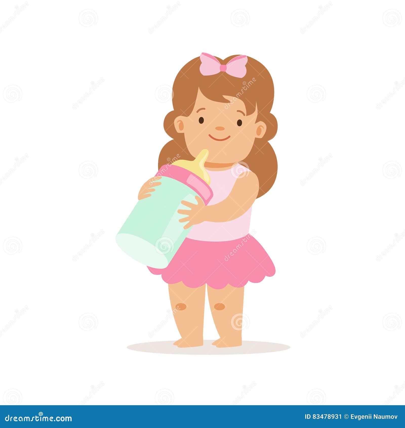 Ragazza in gonna rosa con la bottiglia per il latte