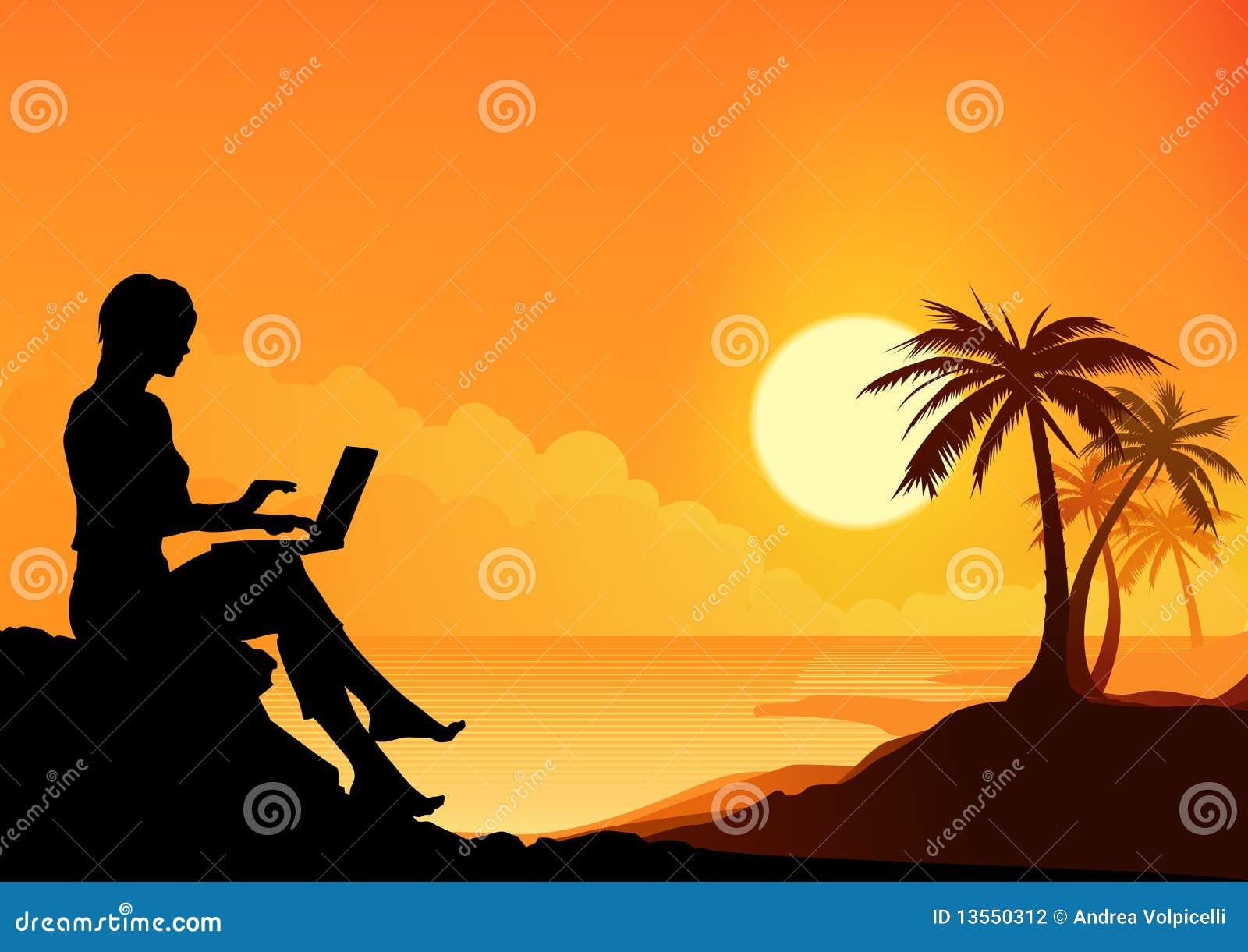 Ragazza lavorante della spiaggia