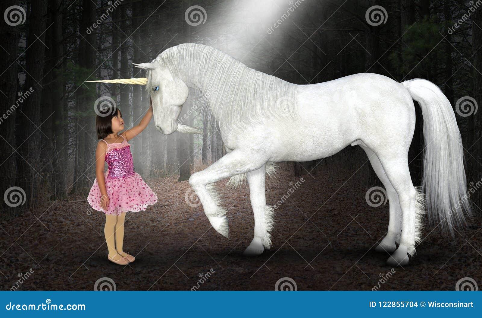 Ragazza, pace, speranza, amore, natura, unicorno, legno