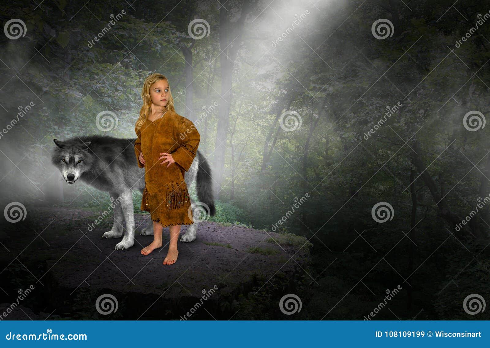 Ragazza, principessa indiana, lupo
