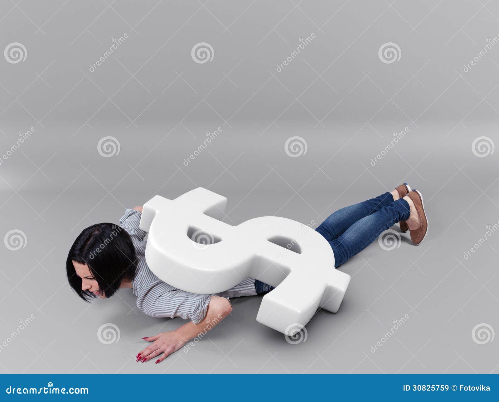 Ragazza sotto soldi