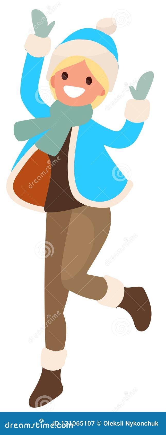 Ragazza su fondo bianco nel salto blu dei vestiti