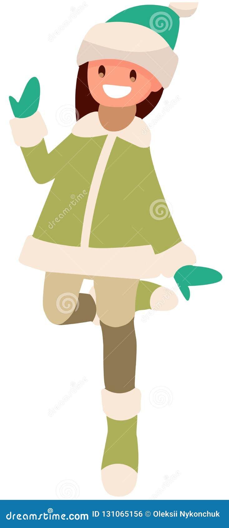 Ragazza su fondo bianco nel salto verde dei vestiti