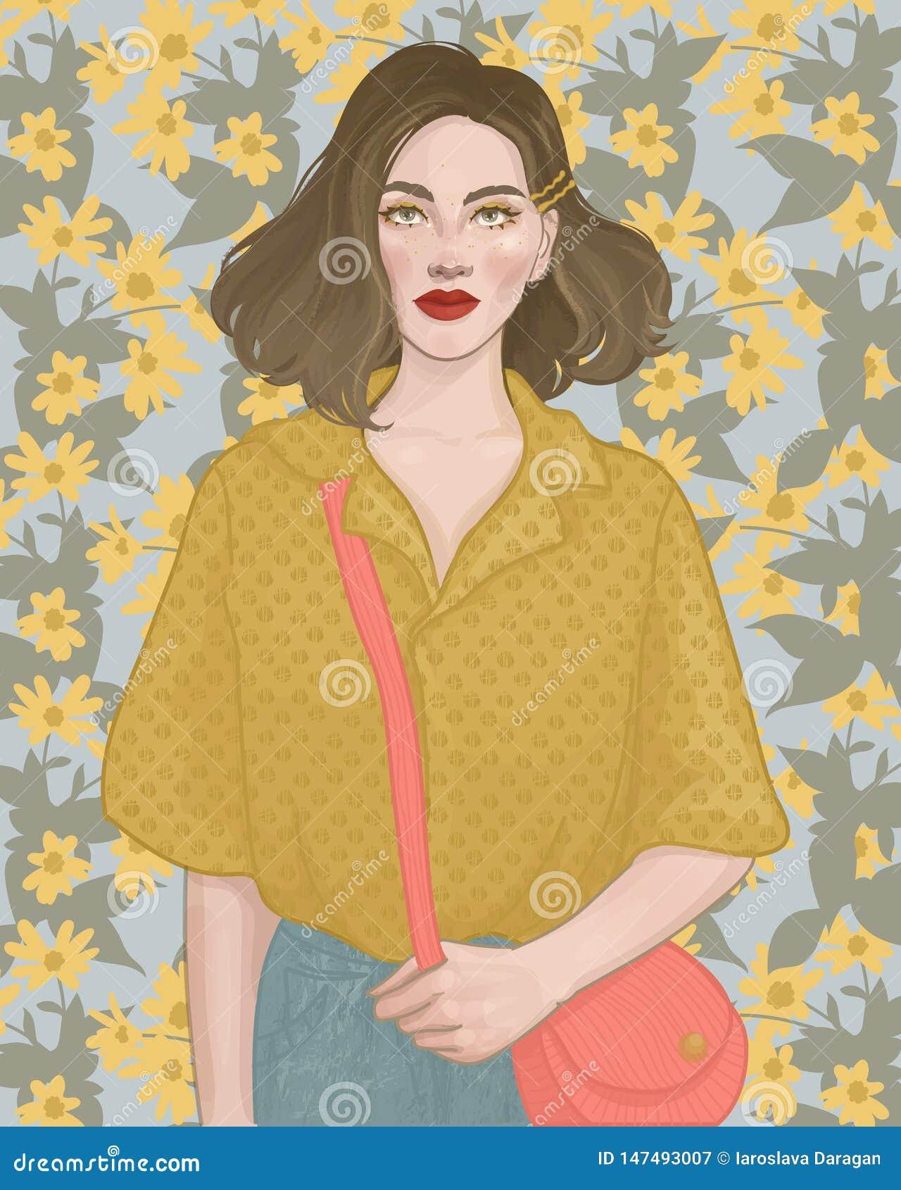Ragazza su un fondo dei fiori gialli