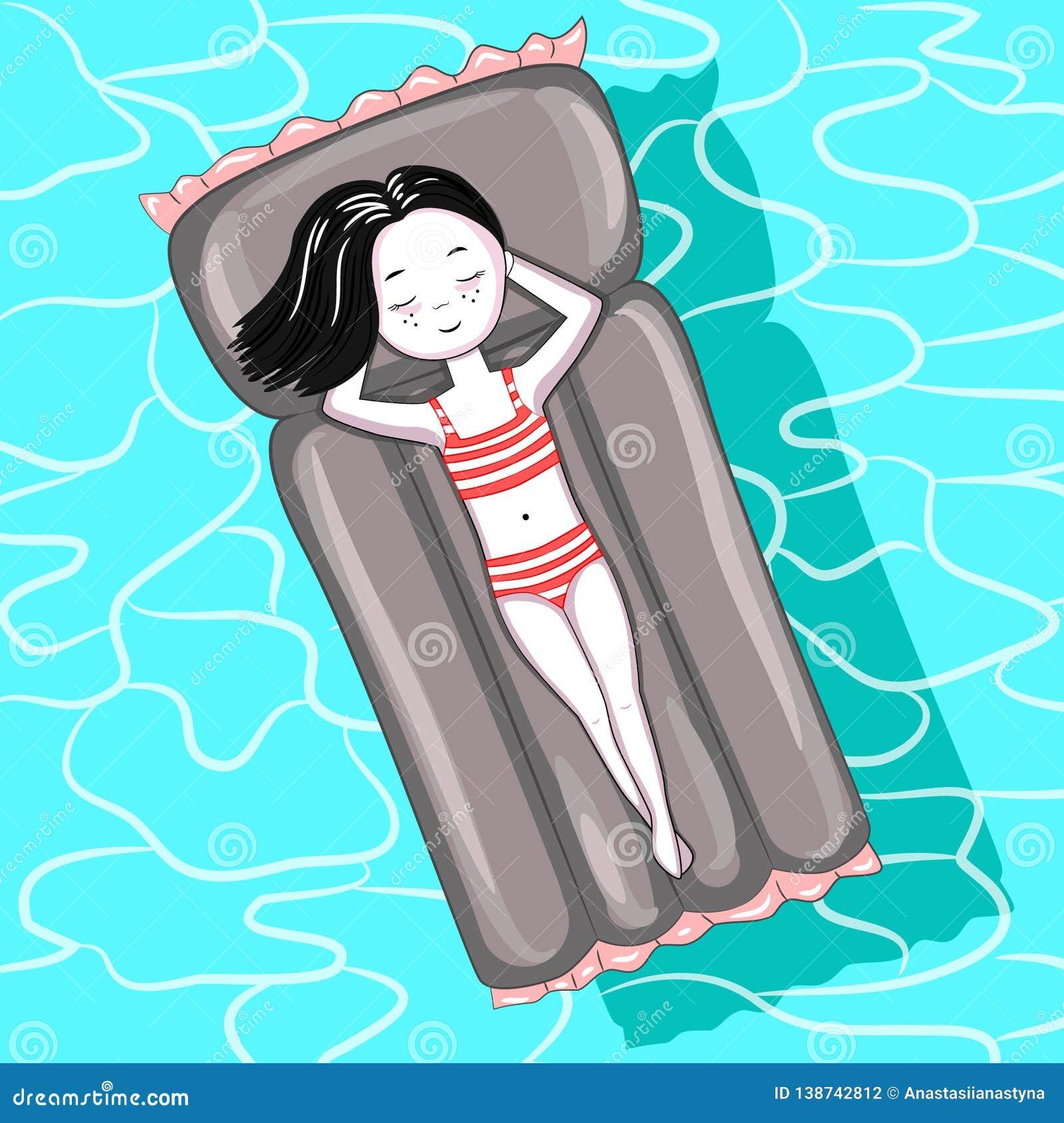 Ragazza sul materasso gonfiabile nella piscina